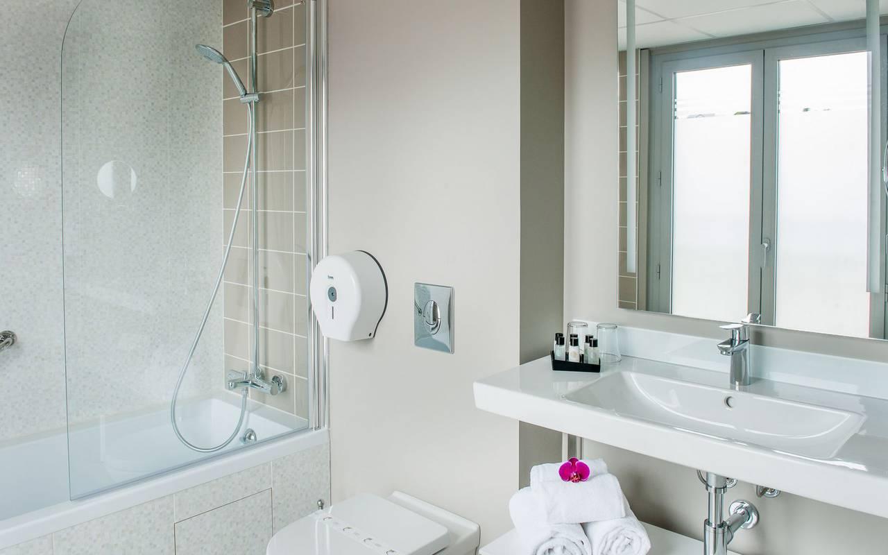 Uncluttered bathroom, 4-star hotel Lourdes, Hôtel Gallia Londres