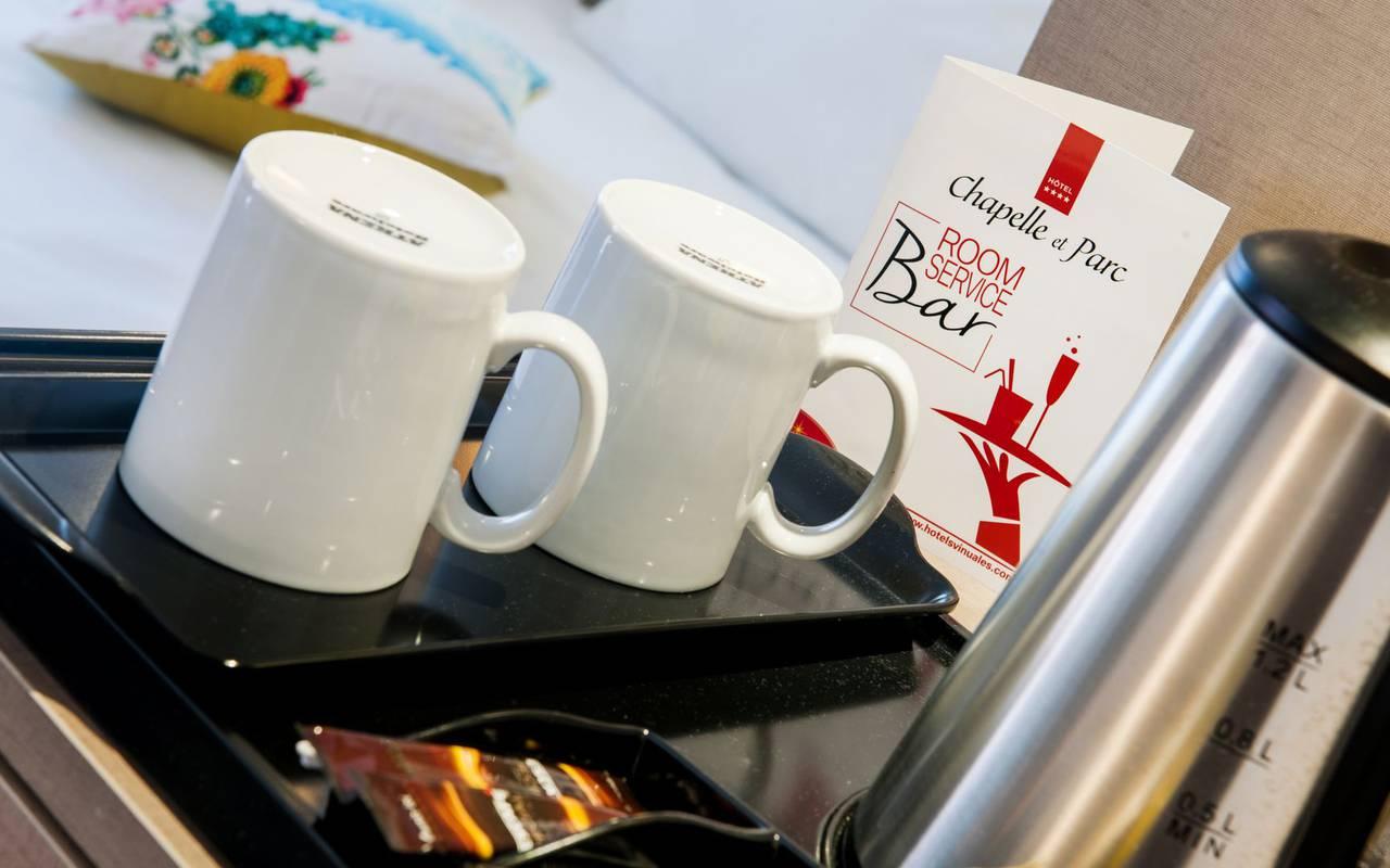 Tea tray, 4-star hotel Lourdes, Hôtel Gallia